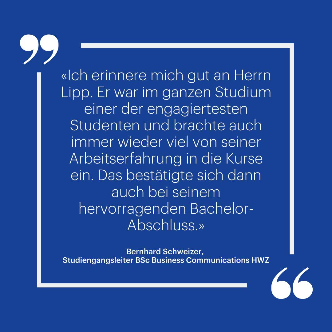 Marco Lipp: Quote Bernhard Schweizer