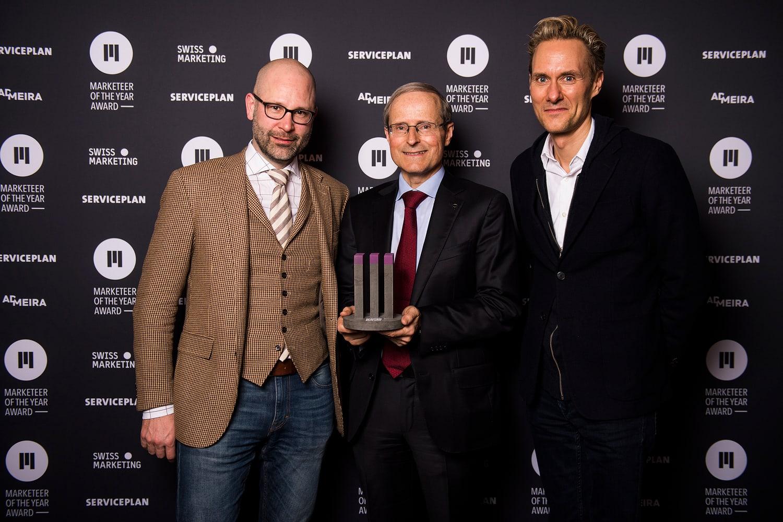 Die Nominierten für den erstmalig verliehenen Award Marketeer of the Year: Philip Bucher, Geschäftsführer, Partner, Doppelleu Boxer AG, und Dominik Kaiser, Gründer und Hauptaktionär, 3 Plus Group AG