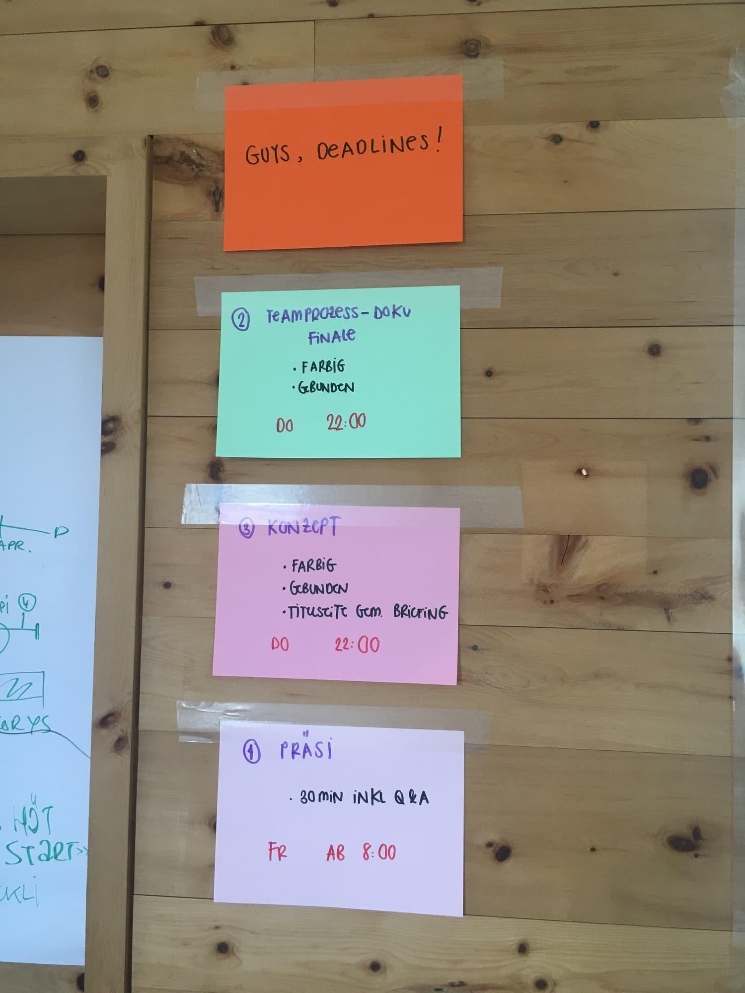 Deadlines Projektmanagementseminar Scuol