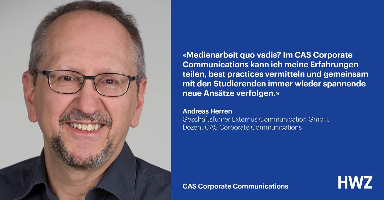 Andreas Herren, Dozent CAS Corporate Communications HWZ